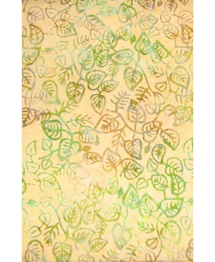 Green and Brown Leaves on Pastel Melon *1/2 Yard Pieces Only*