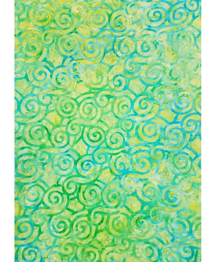 Aqua Swirls on Citrus Green