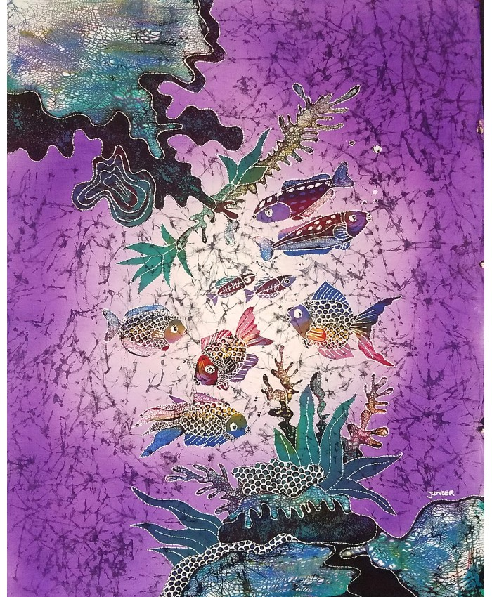 Small Fish Group Purple Crackle| Batik Painting