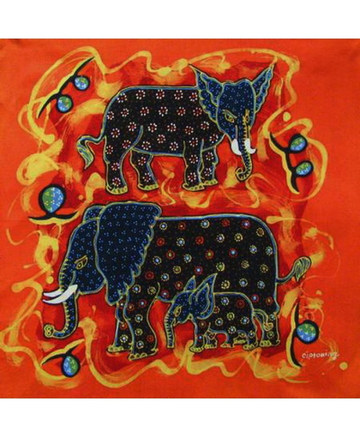 Batik elephant European cushion cover - Oz Fair Trade