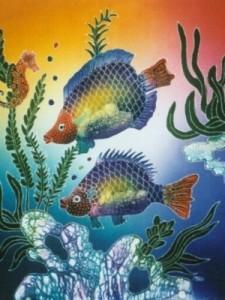 Original- Small Batik Painting- FH26- Friendly Fish