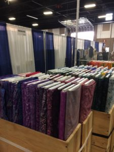 A small portion of our unloaded fabric in the booth space